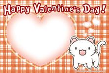 バレンタイン用ポストカード02【猫/ハート/チェック柄】
