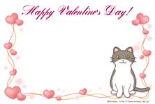 バレンタイン用ポストカード03【猫/ハート】