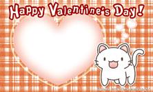バレンタインカード名刺サイズ【猫/ハート/チェック柄】