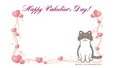 バレンタインカード名刺サイズ【猫/ハート】